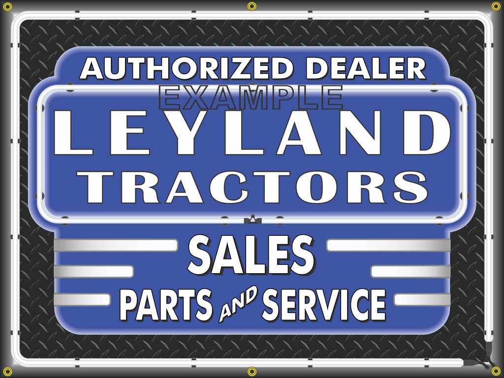 LEYLAND TRACTORS DEALER STYLE SIGN SALES SERVICE PARTS TRACTOR REPAIR SHOP REMAKE BANNER 3' X 4'