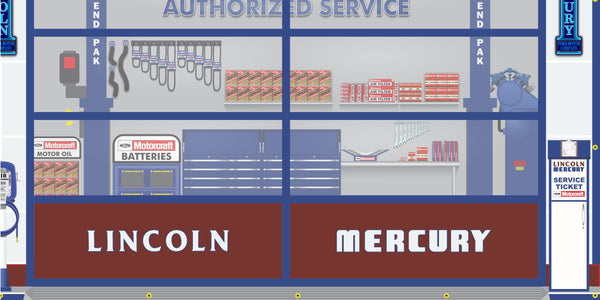 LINCOLN MERCURY MOTORCRAFT FOMOCO DEALER SALES PARTS SERVICE DEALERSHIP RETRO SCENE WALL MURAL SIGN BANNER GARAGE ART VARIOUS SIZES