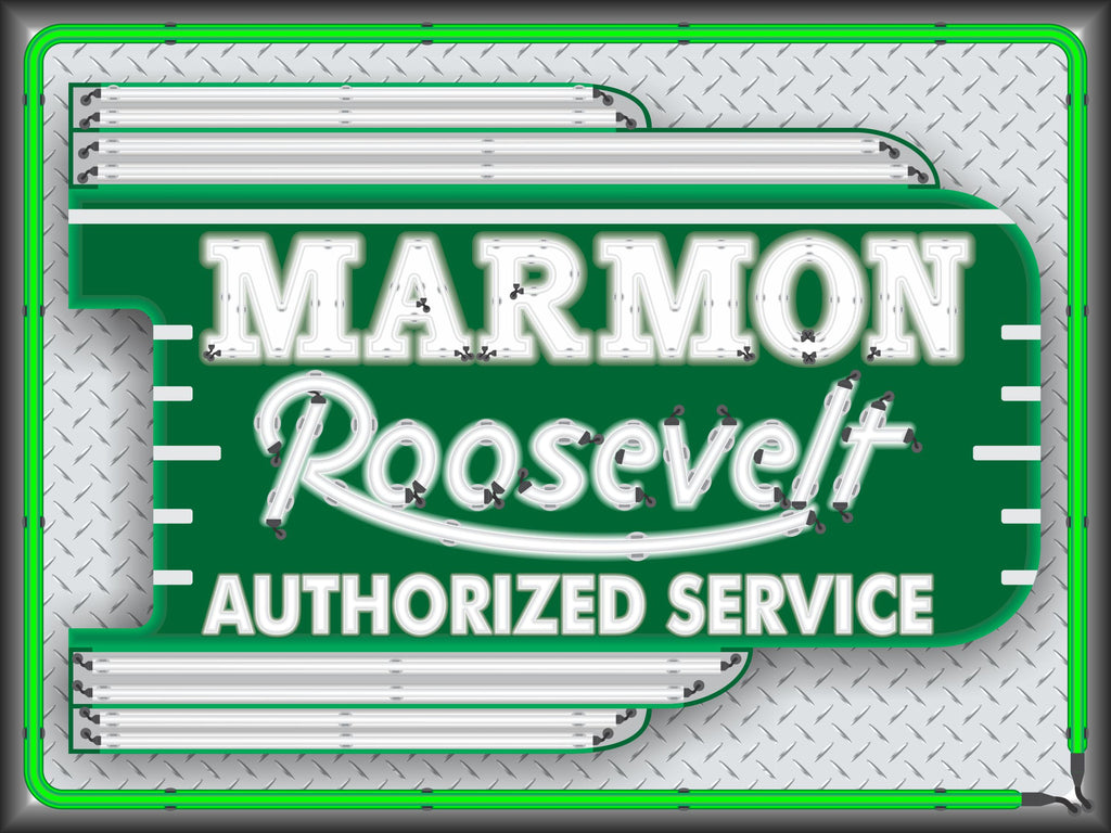 MARMON ROOSEVELT CAR SALES SERVICE DEALER OLD REMAKE MARQUEE Neon Effect Sign Printed Banner 4' x 3'