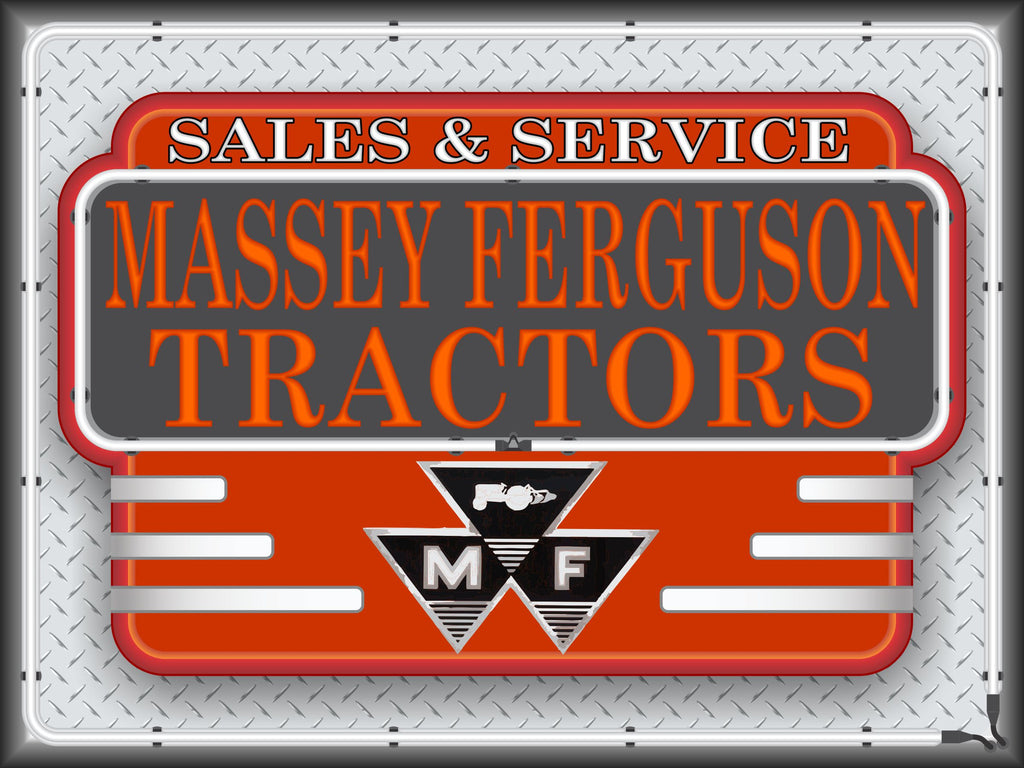 MASSEY FERGUSON TRACTORS SALES SERVICE DEALER STYLE Neon Effect Sign Printed Banner 4' x 3'