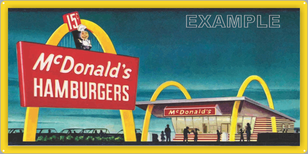 MCDONALDS HAMBURGERS DRIVE IN RESTAURANT DINER OLD SIGN REMAKE ALUMINUM CLAD SIGN VARIOUS SIZES