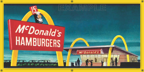 MCDONALD'S HAMBURGER RESTAURANT DRIVE IN VINTAGE ADVERTISEMENT STYLE OLD SCHOOL SIGN REMAKE BANNER SIGN ART MURAL 2' X 4'/3' X 6'