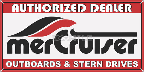 MERCRUISER SIGN VINTAGE DESIGN OUTBOARDS STERN DRIVES AUTHORIZED DEALER BOAT MARINE WATERCRAFT OLD SIGN REMAKE ALUMINUM CLAD SIGN VARIOUS SIZES