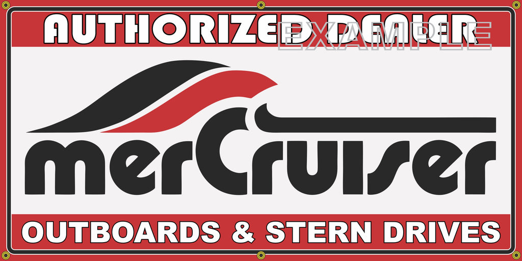 MERCRUISER OUTBOARDS AND STERN DRIVES VINTAGE OLD SCHOOL SIGN REMAKE BANNER SIGN ART MURAL 2' X 4'/3' X 6'