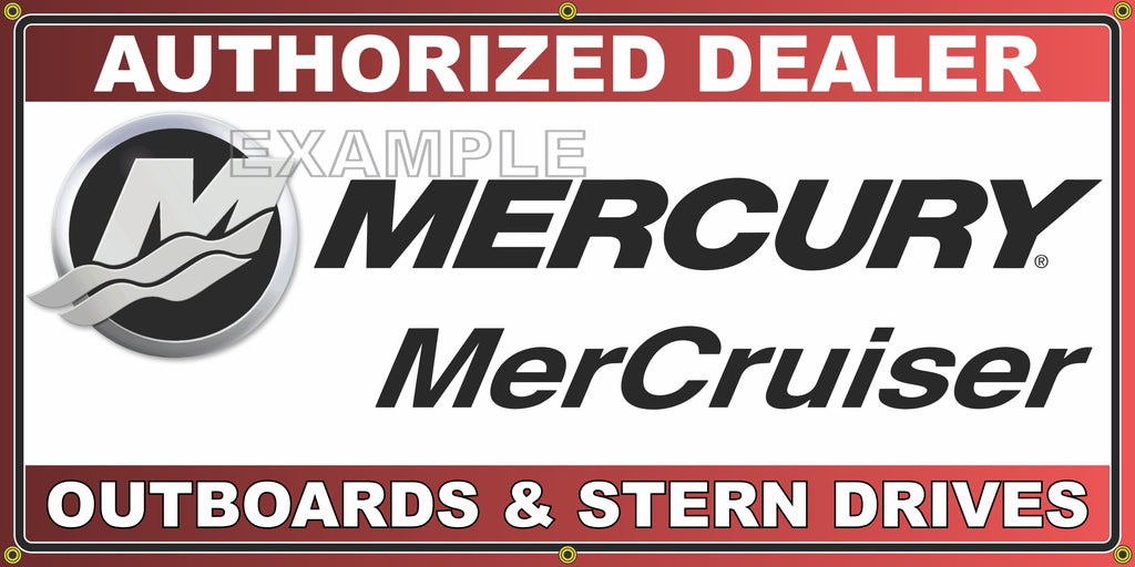 MERCURY MERCRUISER OUTBOARDS AND STERN DRIVES VINTAGE OLD SCHOOL SIGN REMAKE BANNER SIGN ART MURAL 2' X 4'/3' X 6'