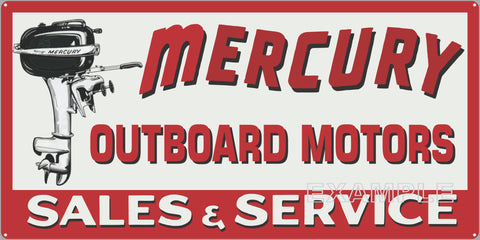MERCURY OUTBOARD MOTORS AUTHORIZED DEALER MARINE WATERCRAFT OLD SIGN REMAKE ALUMINUM CLAD SIGN VARIOUS SIZES