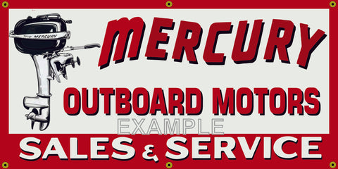 MERCURY OUTBOARD MOTORS SALES AND SERVICE DEALER VINTAGE OLD SCHOOL SIGN REMAKE BANNER SIGN ART MURAL 2' X 4'/3' X 6'
