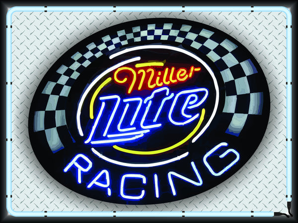 Miller Lite Racing Neon Effect Sign Printed Banner 4 X 3