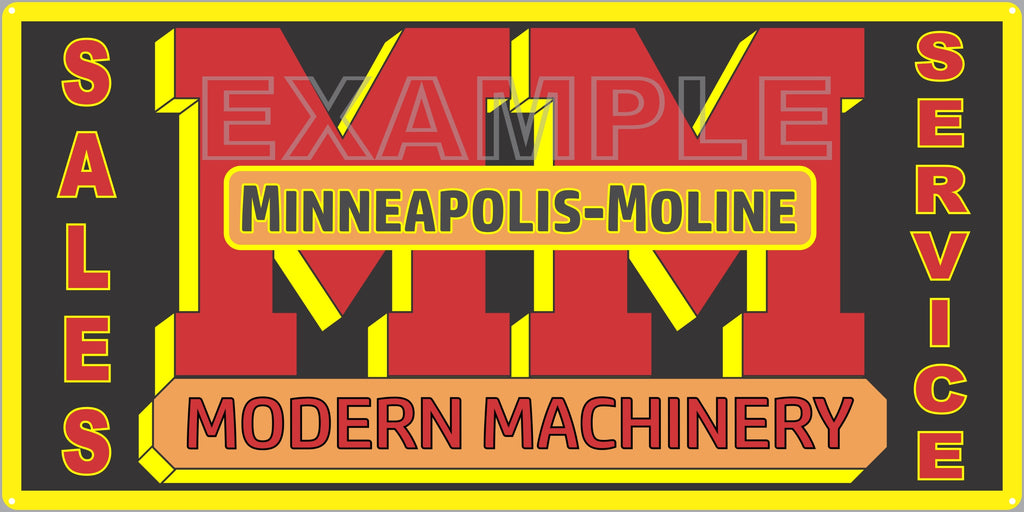 MINNEAPOLIS MOLINE MODERN MACHINERY TRACTORS FARM DEALER OLD SIGN REMAKE ALUMINUM CLAD SIGN VARIOUS SIZES