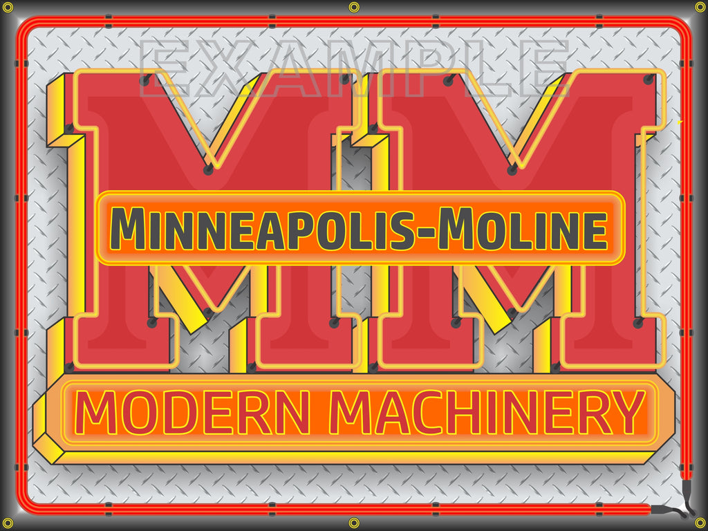 MINNEAPOLIS MOLINE MODERN MACHINERY Neon Effect Sign Printed Banner 4' x 3'