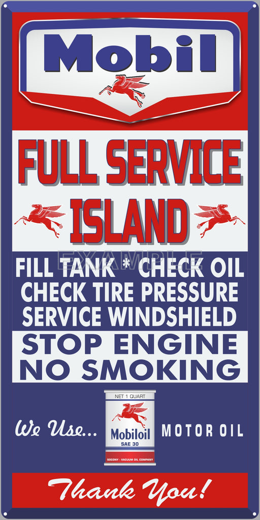 MOBIL GAS FULL SERVICE ISLAND GAS STATION SERVICE GASOLINE OLD SIGN REMAKE ALUMINUM CLAD SIGN VARIOUS SIZES