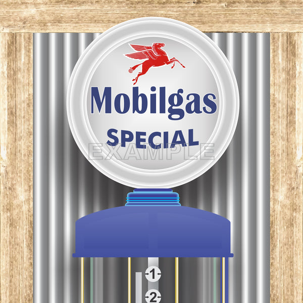 MOBILGAS MOBIL OIL PEGASUS GAS STATION OLD VISIBLE GAS PUMP RUSTIC PRINTED BANNER MURAL ART 2' x 8'