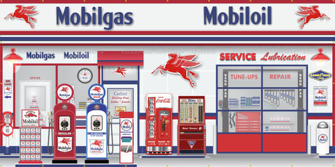 MOBIL MOBILGAS OLD GAS PUMP GAS STATION SCENE WALL MURAL SIGN BANNER GARAGE ART VARIOUS SIZES