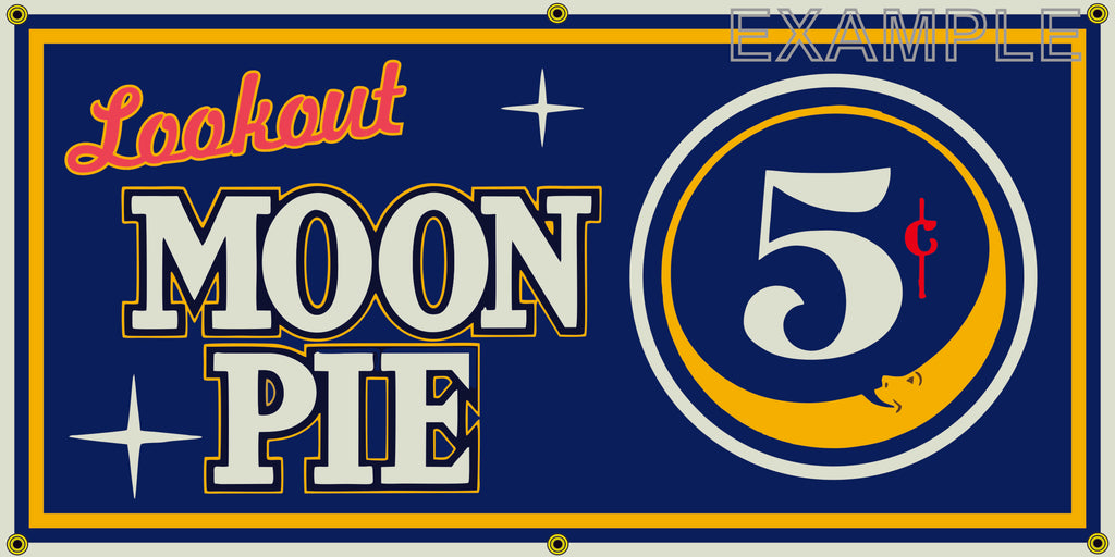 LOOKOUT MOON PIE GENERAL STORE VINTAGE OLD SCHOOL SIGN REMAKE BANNER SIGN ART MURAL 2' X 4'/3' X 6'