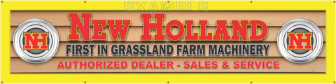 "NEW HOLLAND TRACTOR DEALER LETTER SIGN REMAKE PRINTED BANNER ART MURAL 24"" x 96"""
