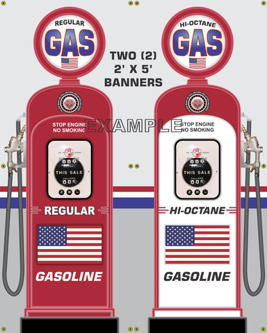 AMERICAN FLAG GENERIC NO BRAND GAS PUMP INDIVIDUAL OR SET PRINTED BANNER SHOP ART MURAL 2' X 5'