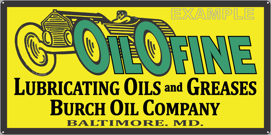 OILOFINE MOTOR OIL LUBRICANTS GAS STATION SERVICE GASOLINE OLD SIGN REMAKE ALUMINUM CLAD SIGN VARIOUS SIZES