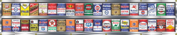 OIL CAN COLLECTION GAS STATION DISPLAY BANNER ART MURAL OPTION SIZE/DESIGN VARIOUS SIZES