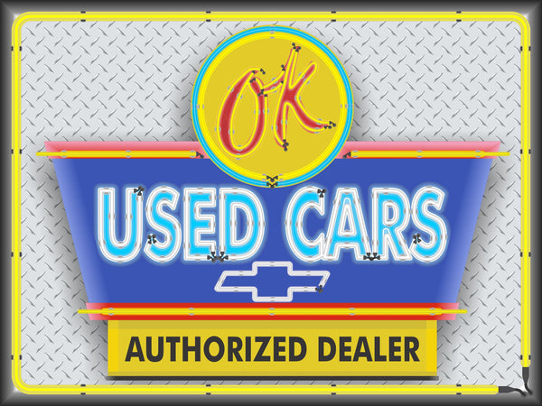 CHEVROLET OK USED CARS SALES AUTHORIZED DEALER OLD REMAKE MARQUEE Neon Effect Sign Printed Banner 4' x 3'