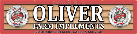 "OLIVER TRACTOR FARM IMPLEMENTS DEALER LETTER SIGN REMAKE BANNER MURAL 24"" x 96"""