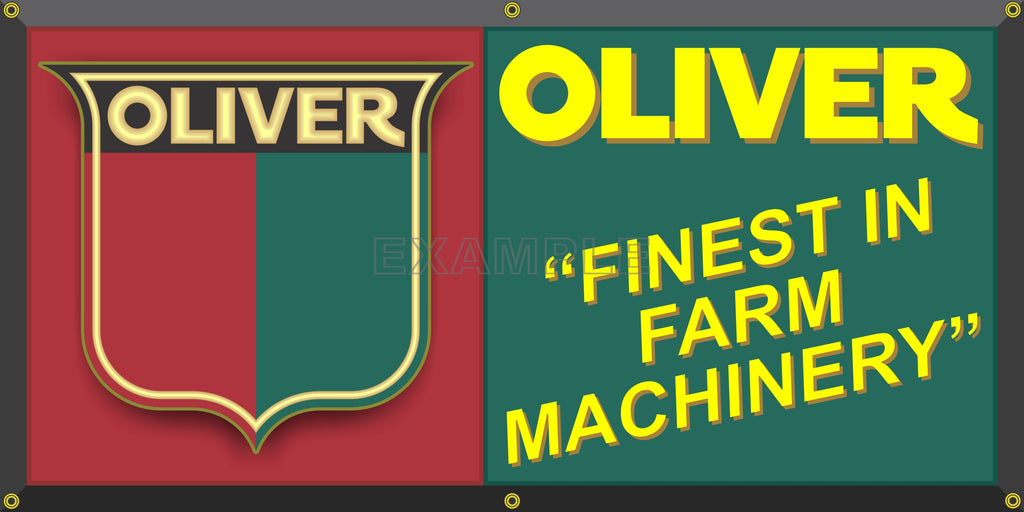 OLIVER FARM TRACTORS DEALER MACHINERY VINTAGE OLD SCHOOL SIGN REMAKE BANNER SIGN ART MURAL 2' X 4'/3' X 6'