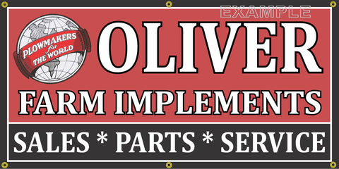 OLIVER FARM IMPLEMENTS TRACTORS FARM MACHINERY VINTAGE OLD SCHOOL SIGN REMAKE BANNER SIGN ART MURAL 2' X 4'/3' X 6'