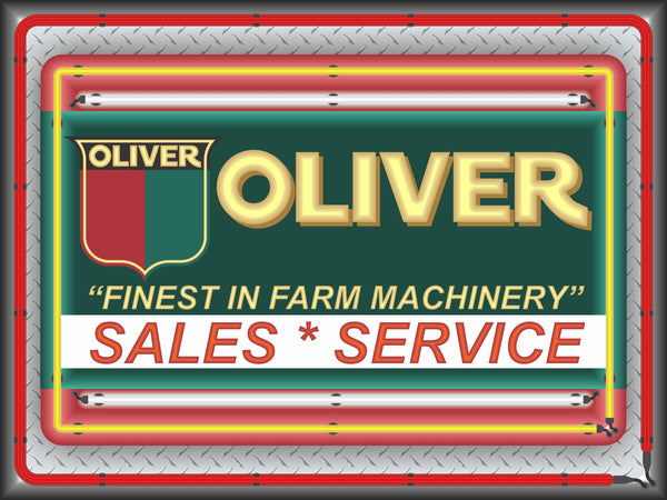 OLIVER TRACTORS SALES SERVICE VINTAGE STYLE Neon Effect Sign Printed Banner 4' x 3'