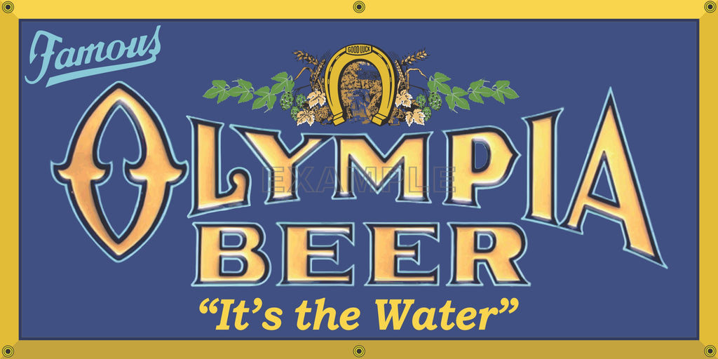 OLYMPIA BEER OLD SCHOOL PUB BAR SIGN REMAKE BANNER SIGN ART MURAL 2' X 4'/3' X 6'