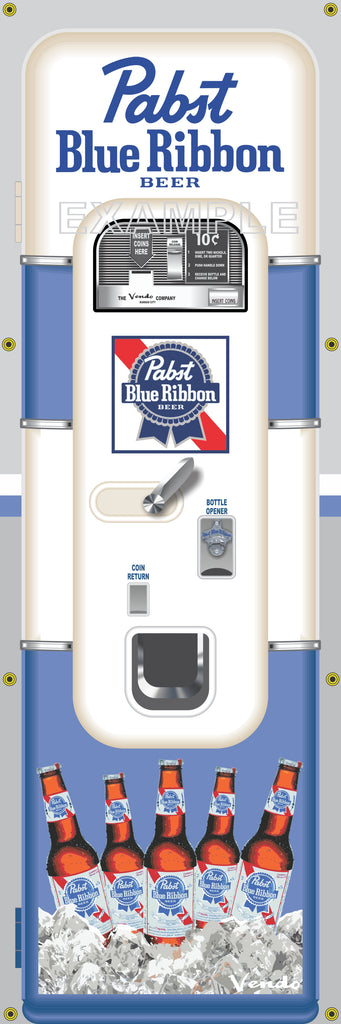 PABST BLUE RIBBON BEER PBR OLD VINTAGE VENDO VENDING MACHINE STYLE BANNER 2' X 6' SIGN ART MURAL