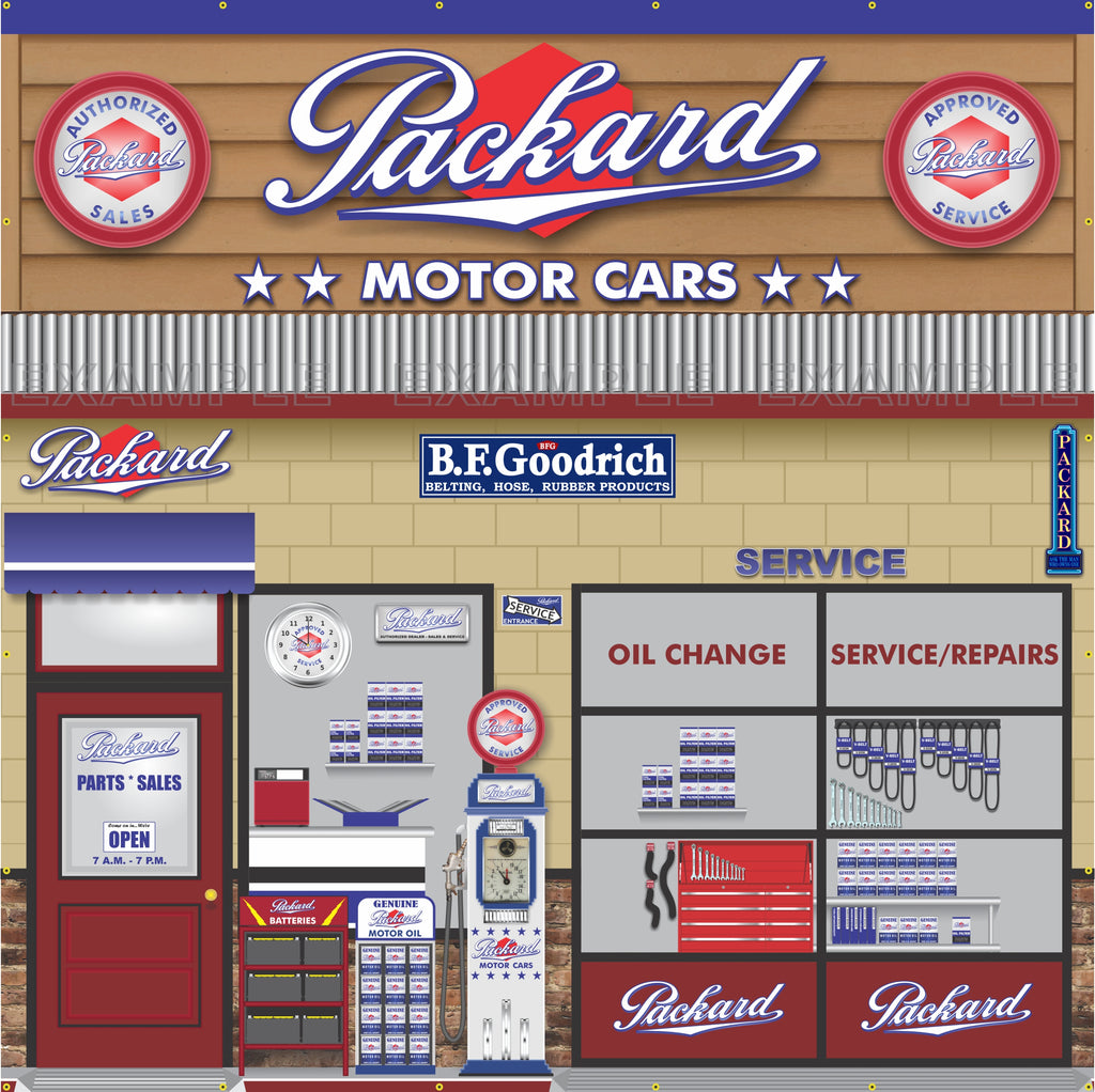 PACKARD MOTOR CARS DEALER SCENE WALL MURAL SIGN BANNER GARAGE ART 10' X 10'