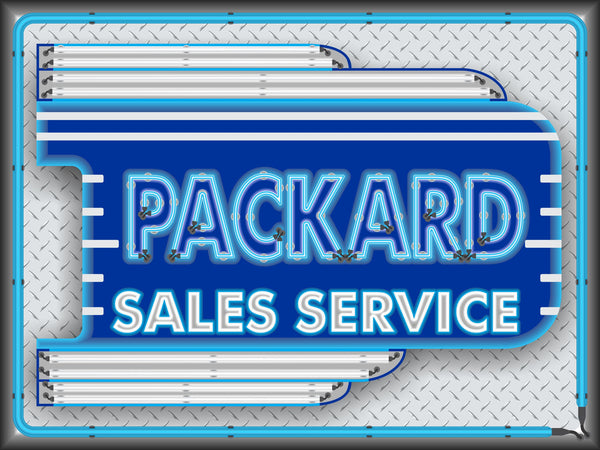PACKARD CAR SALES SERVICE DEALER OLD REMAKE MARQUEE Neon Effect Sign Printed Banner 4' x 3'