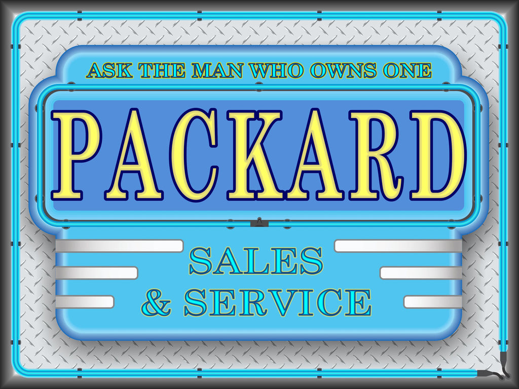 PACKARD SALES AND SERVICE MARQUEE Neon Effect Sign Printed Banner 4' x 3'