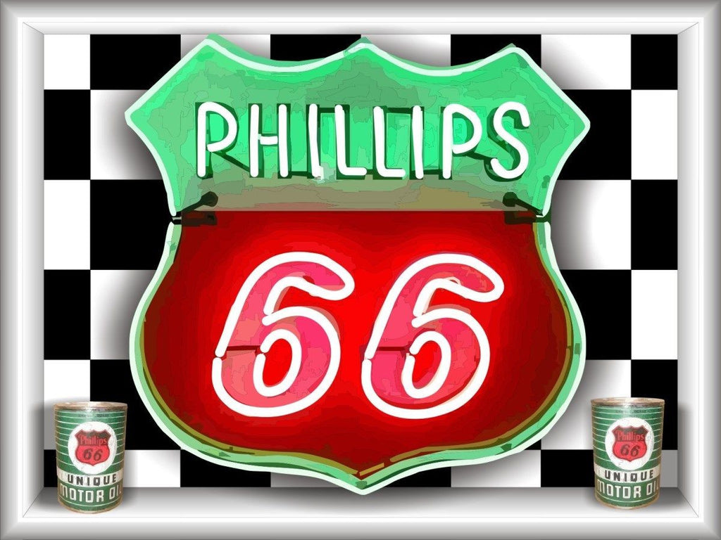 PHILLIPS 66 Neon Effect Sign Printed Banner 4' x 3'