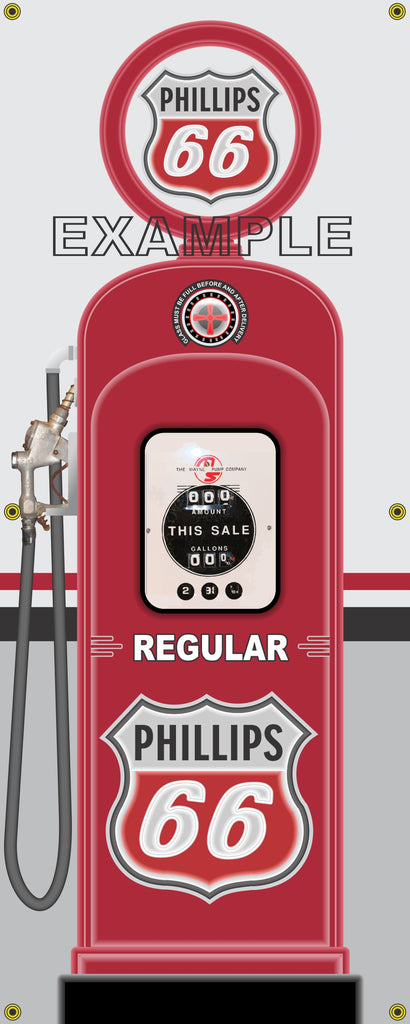 PHILLIPS 66 GAS STATION GAS PUMP DISPLAY INDIVIDUAL OR SET PRINTED BANNER SHOP ART MURAL 2' X 5'
