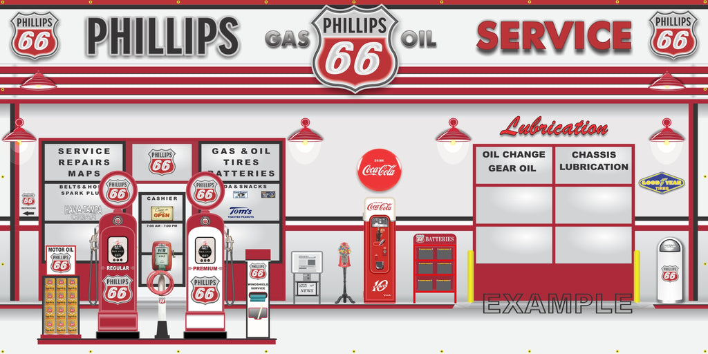 PHILLIPS 66 OLD GAS PUMP GAS STATION SCENE WALL MURAL SIGN BANNER GARAGE ART VARIOUS SIZES
