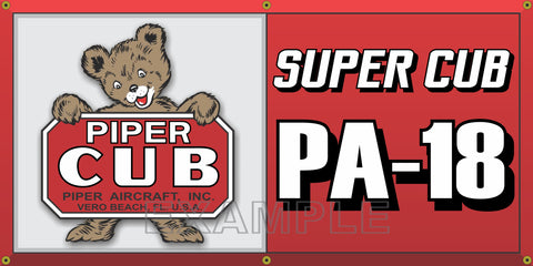 PIPER AIRCRAFT AIRPLANE SUPER CUB PA-18 VINTAGE OLD SCHOOL SIGN REMAKE BANNER SIGN ART MURAL VARIOUS SIZES