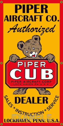 PIPER CUB AIRCRAFT AIRPLANE AUTHORIZED DEALER VINTAGE OLD SCHOOL SIGN REMAKE BANNER SIGN ART MURAL VARIOUS SIZES