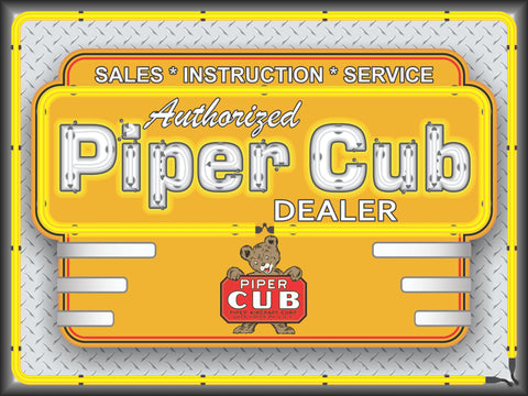 PIPER CUB AIRCRAFT AIRPLANE AVIATION DEALER MARQUEE Neon Effect Sign Printed Banner 4' x 3'