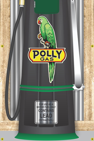 POLLY GAS STATION OLD VISIBLE GAS PUMP RUSTIC PRINTED BANNER MURAL ART 2' x 8'