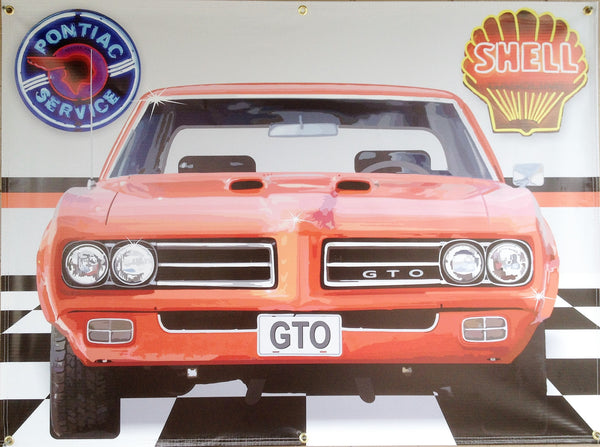 PONTIAC GTO RED GARAGE SCENE Neon Effect Sign Printed Banner 4' x 3'