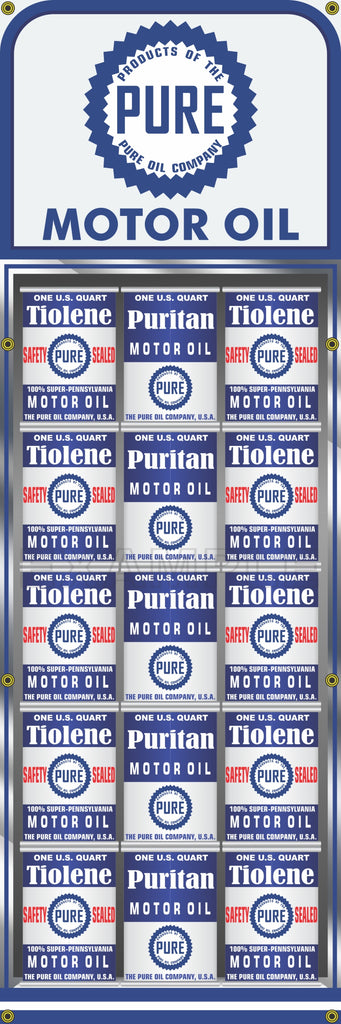 "PURE OIL CAN RACK DISPLAY GAS STATION PRINTED BANNER SIGN MURAL ART 20"" x 60"""