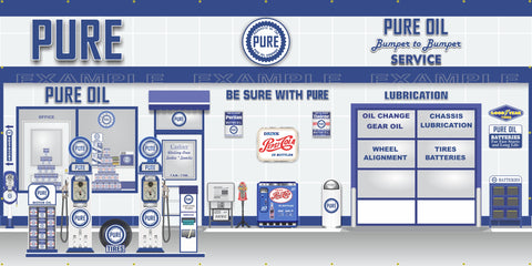 PURE OIL OLD GAS PUMP GAS STATION SCENE WALL MURAL SIGN BANNER GARAGE ART VARIOUS SIZES