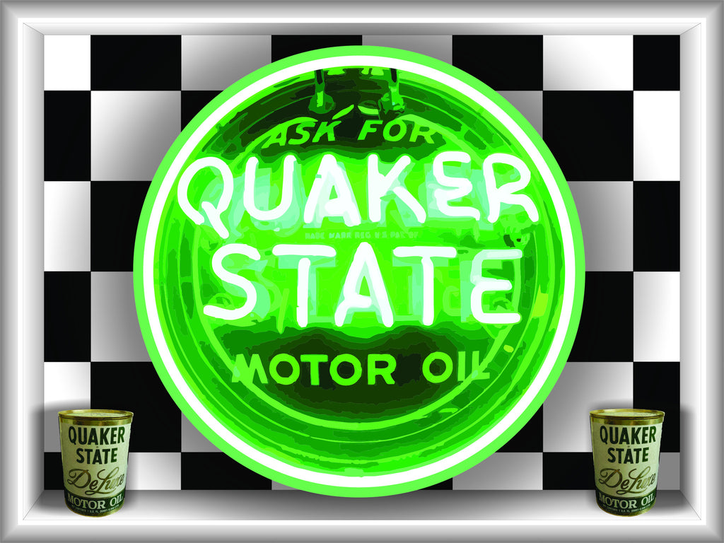 QUAKER STATE MOTOR OIL Neon Effect Sign Printed Banner 4' x 3'