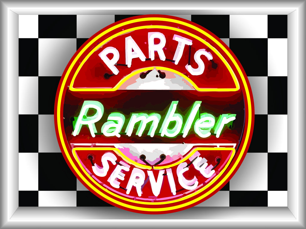 RAMBLER PARTS SERVICE Neon Effect Sign Printed Banner 4' x 3'