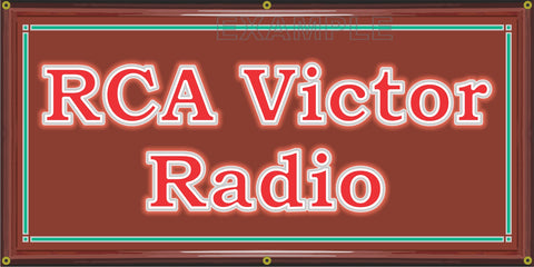 RCA VICTOR RADIO DEALER VINTAGE OLD SCHOOL SIGN REMAKE BANNER SIGN ART MURAL 2' X 4'/3' X 6'