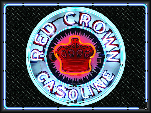 RED CROWN GASOLINE Neon Effect Sign Printed Banner 4' x 3'