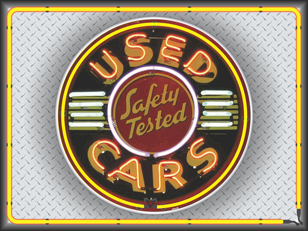 SAFETY TESTED USED CARS Neon Effect Sign Printed Banner 4' x 3'