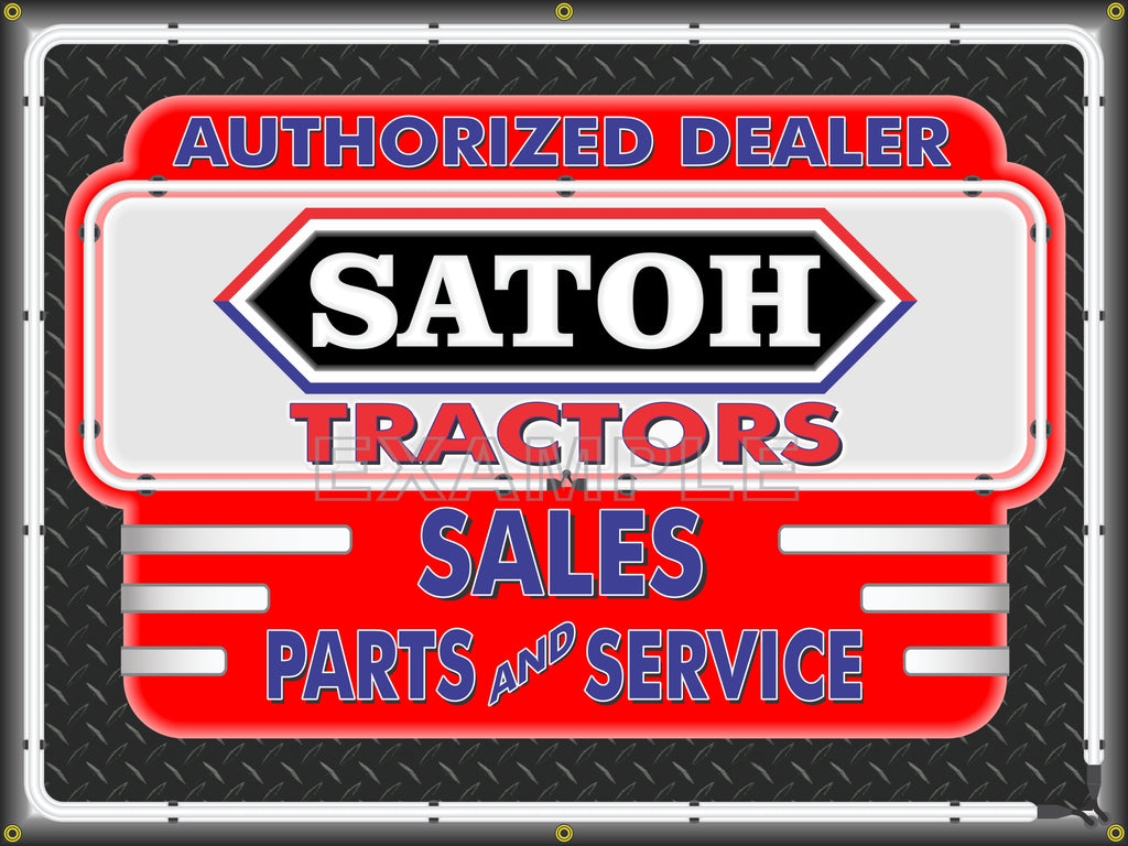SATOH TRACTORS DEALER STYLE SIGN SALES SERVICE PARTS TRACTOR REPAIR SHOP REMAKE BANNER 3' X 4'