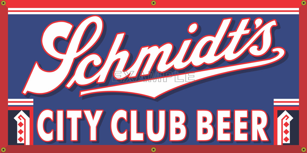 SCHMIDT'S CITY BEER BREWERY OLD SCHOOL PUB BAR SIGN REMAKE BANNER SIGN ART MURAL 2' X 4'/3' X 6'