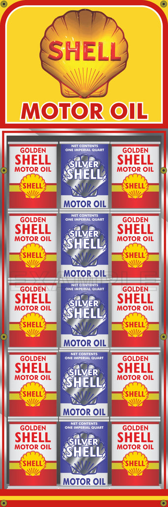 "SHELL GAS STATION OIL CAN RACK DISPLAY PRINTED BANNER SIGN MURAL ART 20"" x 60"""